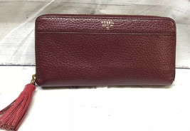 Fossil TARA CLUTCH ZIP AROUND WALLET WITH TASSEL Burgundy - $19.79