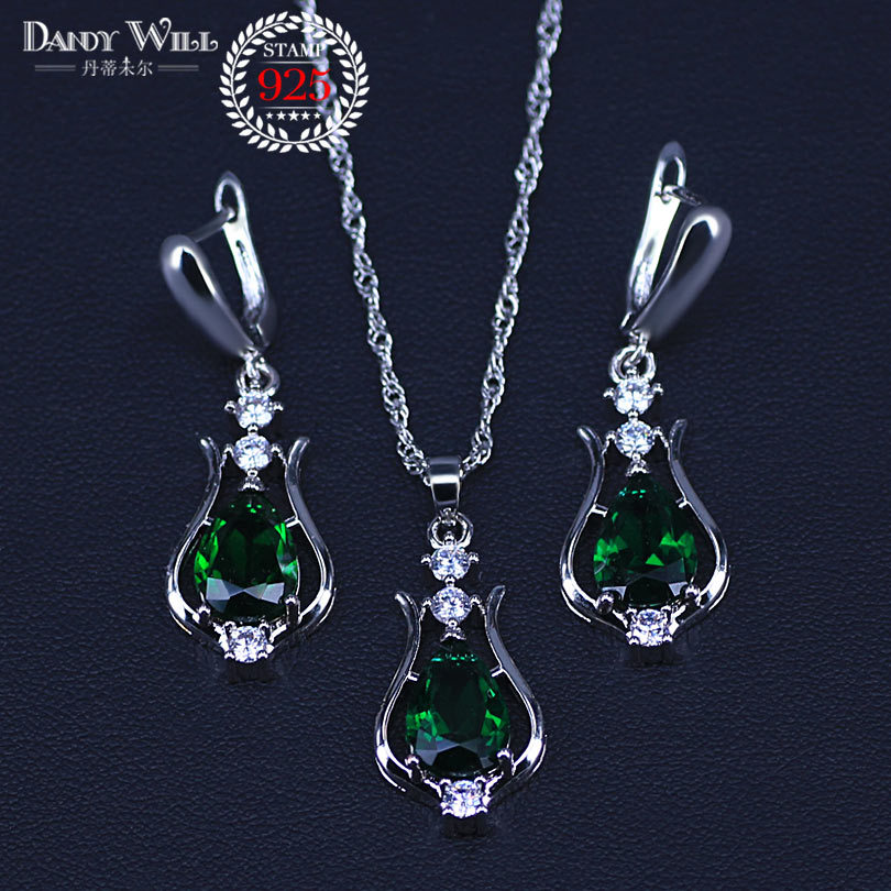 Primary image for Promotion 7 Colors Pear Crystal Pendant Necklace Earrings Set Silver Color Elega