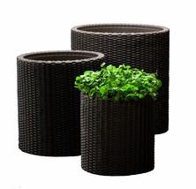 Keter Round Plastic Rattan Resin Garden Flower Planters Decor Pots 3Pc B... - €102,15 EUR