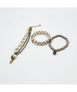 Set of Three Fashion Faux Pearl Rhinestone Silver Bracelets  - $20.00