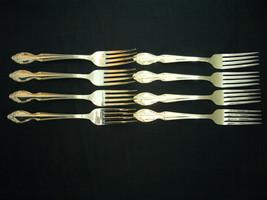 """Rogers & Bro Silvery Mist 7 1/2"""""""" Silverplate Flatware Dinner Forks x 8 - $60.09"""