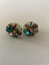 Colorful Filigree Screwback Earrings Signed Czechoslovakia - $23.75