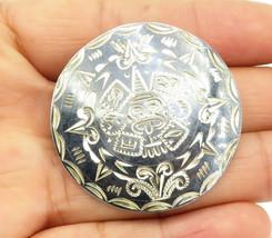 MEXICO 925 Sterling Silver - Vintage Mayan Aztec Sun Calendar Brooch Pin... - $32.54