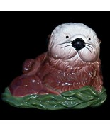 Vintage Monterey Bay Aquarium Sea Otter Ceramic Porcelain Coin Piggy Bank - $37.99