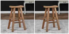 "TWO NEW  30"" AGED RECLAIMED ELM WOOD COUNTER BAR STOOL MILKING STOOL STY... - $413.20"