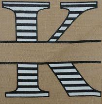 Kate Winston Brand Brown Burlap Monogram Black and White K Garden Flag image 3