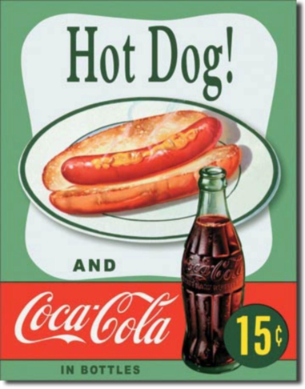 Coca Cola Hot Dog Drink Coke Metal Sign Tin New Vintage Style USA  #1048