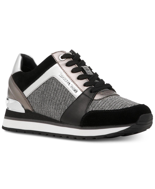 Michael Kors MK Women's Billie Trainer Chain Mesh Sneakers Shoes Black/Silver