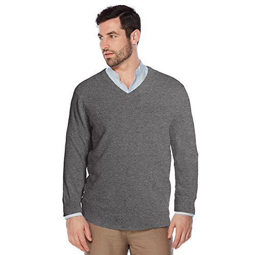 Berlioni Italy Men's Slim Fit Microfiber V-Neck Dress Pullover Sweater (XL, Ligh