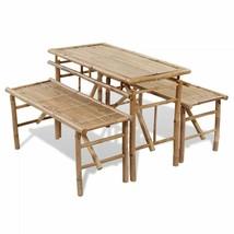 vidaXL Picnic Table Bench Set 3 Pieces Bamboo Folding Beer Garden Furniture - $145.99