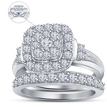 Diamond Wedding Mens Anniversary Bridal Ring Set 14k White Over 925 Solid Silver - $94.99