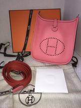 NEW-Auth HERMES Rose Azalea Clemence Evelyne Mini TPM Messenger/Shoulder Handbag image 5