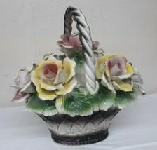 "Vintage Italian Nuova 12"" Capodimonte Roses Centerpiece Floral Arrangement Wow! - $143.95"