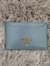 NEW Prada Slate Blue Saffiano Leather Card Case Holder Gold Hardware Wallet - $343.00