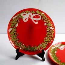 """Holiday Wreath Salad Hors D'oeuvre Or Santa Cookie Plates 7"""" - $24.74"""