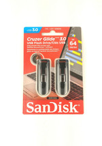 2 - Pack SanDisk Cruzer Glide 64GB USB 3.0 Flash Drive - Black SDCZ600-0... - $27.64