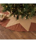 Primitive Burgundy Natural Check Star Christmas Tree Skirt 21 48 55 60 - $24.95+