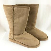 Soda Womens Winter Boots Faux Fur Lined Faux Suede Beige Size 7.5 - $38.69