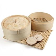 2 Tier Bamboo Steamer Dim Sum Basket Rice Pasta Cooker Natural Woven Bamboo - $9.96