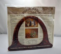 Vintage Purse-N-Able Tortoise Shell Handle-Macrame Crochet Weaving Fabri... - $9.45