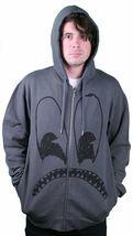 Wesc Sad Monster Zip Up Hoodie Sweatshirt in Dark Shadow Grey NWT image 3