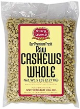 Spicy World Bulk Raw Natural Whole Cashews, 5 Pound - $45.17