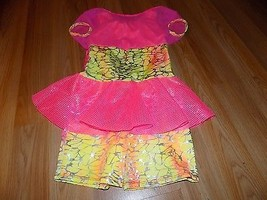 Child Size Large Dansco Dance Costume Unitard Leotard Neon Pink Orange Y... - $25.00