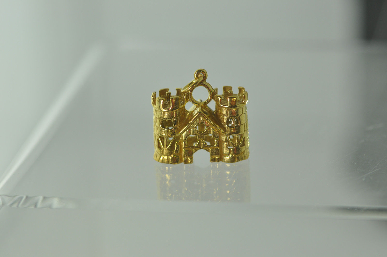 NICE Medieval 24K Gold plated Queen King Castle Charm Viking Fortress Town Hall