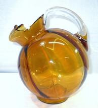 Cambridge Glass Amber Gold Tilt Ball Shaped Ice Lip Pitcher Elegant Patt... - $115.00