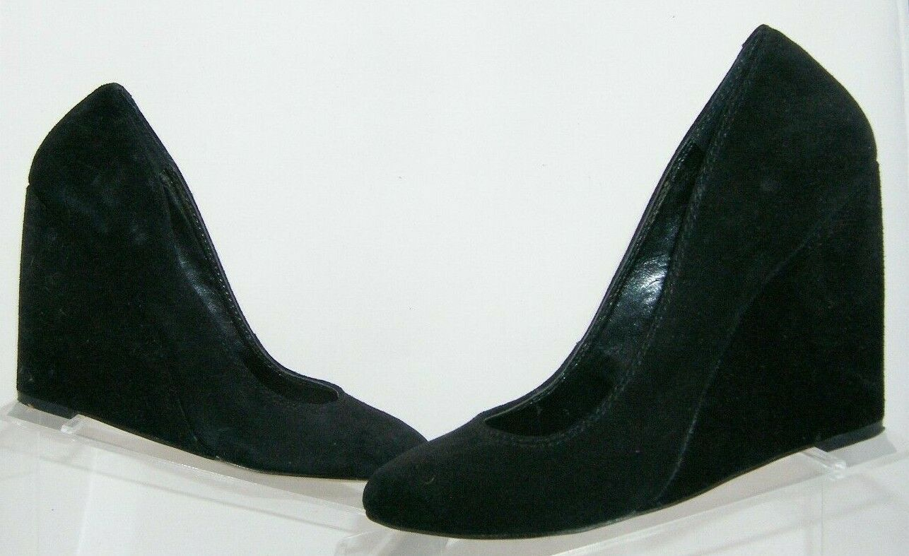 Jessica Simpson 'Amari' black suede amond toe slip on womens wedges 8.5B image 2