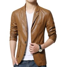 Corporate Style Trendy Men Leather Blazer