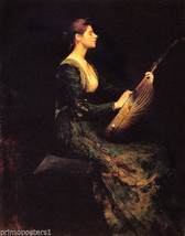 Lady With A Lute Music American Painting By Thomas Wilmer Dewing Repro - $10.96+