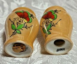 Lusterware Butterfly Hand Painted Light Orange Salt and Pepper Set image 3