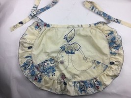 Vintage Half Apron Ivory Bonnet Woman Floral Cute Retro Ruffle Cooking 5... - $23.26