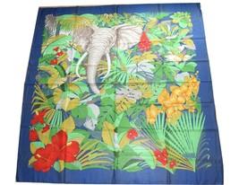 """Gucci Cotton Scarf Elephant 55"""" x 55"""" Blue 140 cm shawl stole - $177.21"""