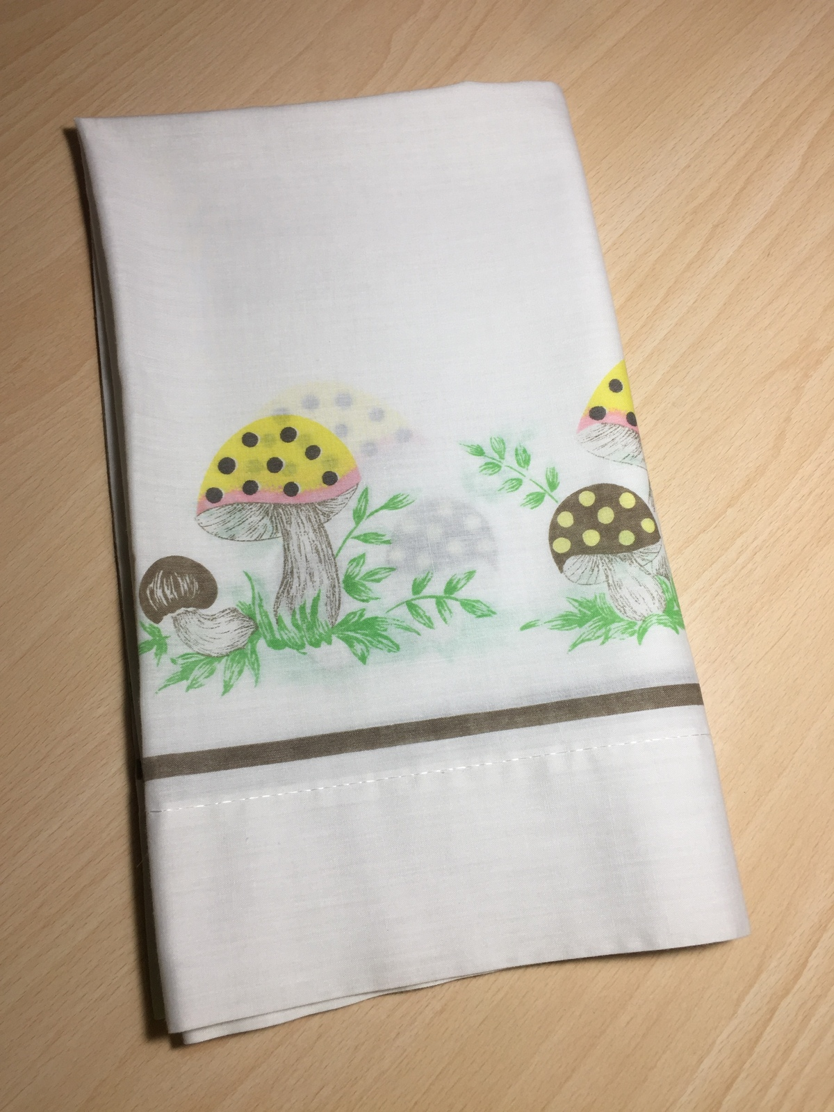 Vintage 70s Merry Mushroom Kitchen Curtains From Sears 1 Set Of 4 Fabric Lace