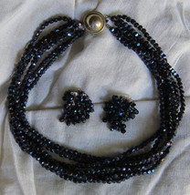 1950's Castlecliff Black Bead Seven Strand Necklace & Matching Clip On Earrings - $29.97
