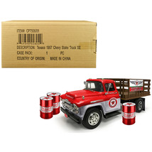 1957 Chevrolet Stake Bed Truck Red/Metal with 3 Oil Drums Texaco Aviatio... - $75.95
