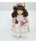 """Collectors Choice Porcelain Doll 13"""" Brown Hair in Ringlets Old Fashione... - $14.84"""