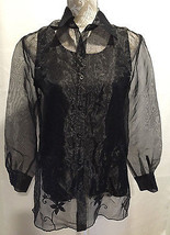 New York City Design Clubwear Sheer Black Blouse Attached Cami Top Blous... - $15.59