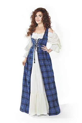 Scottish Highlander Tartan Renaissance Over Dress (XXS/XS, Blue)