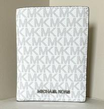 New Michael Kors Jet Set Travel Medium Passport Case Bright White / Alum... - $68.31