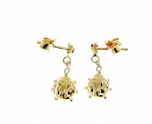 18K YELLOW GOLD EARRINGS WITH VERY SHINY LADYBIRD WORKED MADE IN ITALY 0.63 IN