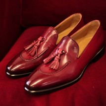 New Handmade Pure Leather Stylish Loafers, Tassel burgundy color Shoes For Men  - $144.99+