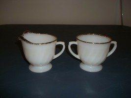Vintage Fire King Swirl Golden Anniversary Pattern Creamer And Sugar - $7.91