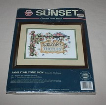 Sunset Family Welcome Sign Counted Cross Stitch Kit Personalize 13602 New Opened - $18.76