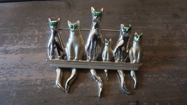 Vintage Gold Tone Green Rhinestone Cat Dangle Tails Brooch by AJ - $15.83