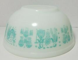 Pyrex Butterprint White & Turquoise 2.5 Qt Nesting Mixing Bowl #403 Vin... - $34.60