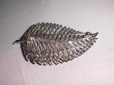 """Vintage S.H.P. Signed Silver Tone Leaf Brooch Pin """"Leaf of Elegance Pin"""""""