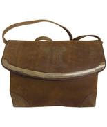 Vintage CELINE genuine suede tanned brown leather shoulder bag, clutch p... - $232.00